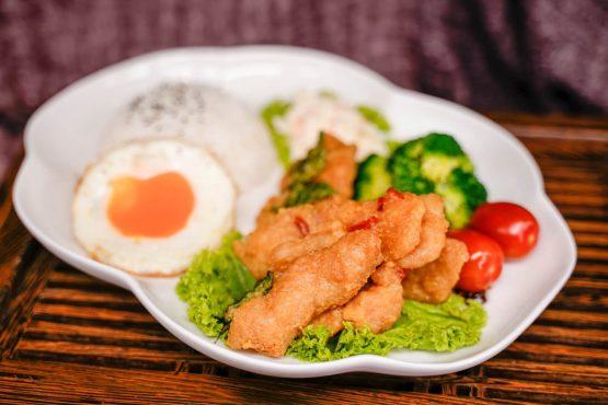 salted egg pork set menu